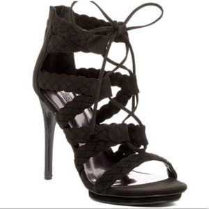 Sexy Black Stilettos Lace Up Ballari High Heels
